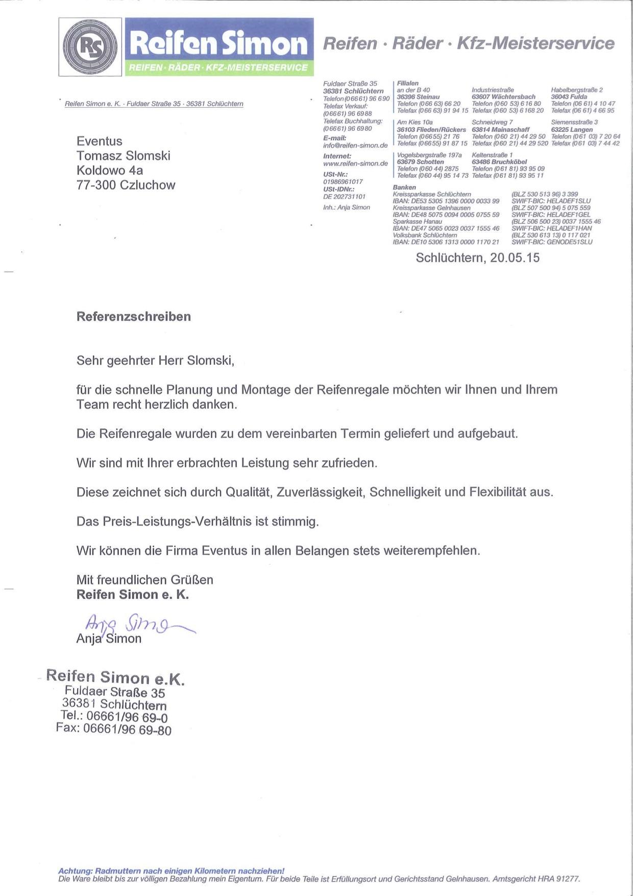Reifen Simon Wächtersbach  EVENTUS Reifenregale